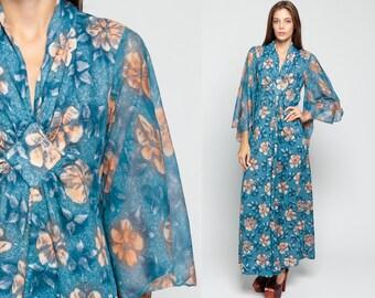70s Bohemian Dress ANGEL SLEEVE Maxi EMPIRE Waist Festival Blue Floral Print Bell Sleeve 1970s Hippie Boho Deep V Neck Vintage Large