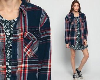 Blue Flannel Shirt 90s Plaid Grunge Lumberjack Navy Oversize Long Sleeve Button Up Vintage Men Lumberjack Red Retro White Large