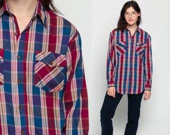 Flannel Shirt 80s Plaid Shirt Red Blue Oversized Grunge Vintage 90s Button Down up Lumberjack Long Sleeve Women Men Small Medium