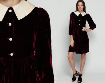 Mod Mini Dress 60s PETER PAN Collar Velvet Red Babydoll PUFF Sleeve 1960s Boho Vintage Goth Twiggy Burgundy Button Up Dolly Extra Small xs