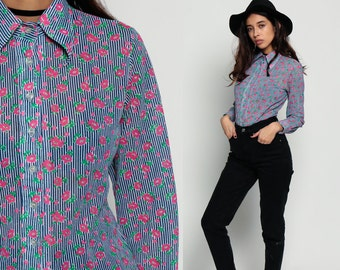 Floral Blouse Button Up Shirt 70s Disco Top STRIPED Collar Hipster Pinstripe Boho Hippie Long Sleeve 1970s Bohemian Vintage Pink Blue Small