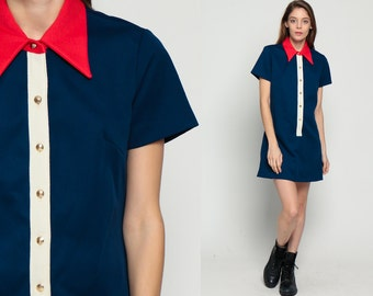 60s Mini Dress Red White Blue Mod Shift Color Block Button Up 1960s Twiggy Short Sleeve Vintage Collar GoGo Plus Size Extra Large xl