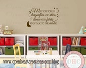 ON SALE Childrens Wall Decal - Childs Inspirational Quote Vinyl Wall Decal with Moon Stars Wand and Dragonfly 22h x 36w BA0036