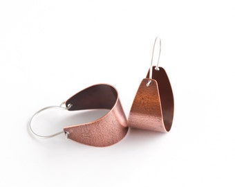 "Arc shaped copper earrings lightly patterned and oxidized, perfect for everyday wear and a splash of color - ""Small Copper Scoop Earrings"""