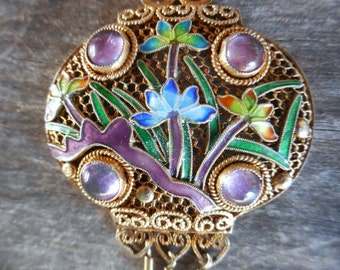 Vintage Gold Washed Silver Filigree Cloisonne Enamel Pendant for Necklace