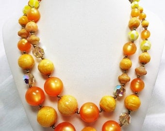 Wonderful 60's Era 2 Strand Orange and Yellow Beaded Necklace