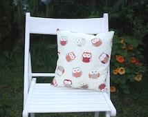 "Owl cushion 14"" duck feather pad"