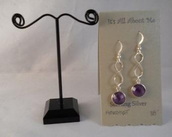 Sterling silver figure 8 amethyst earring
