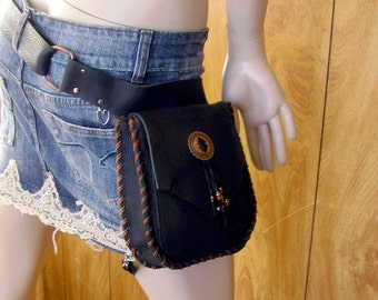 "Copper Concho, Leather belt with hip bag, belt size 24""- 47"", 1.5"" wide black leather belt with attached 7"" x 6"" x 1.5""  hip bag & leg strap"