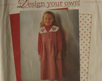 Simplicity 8256/Uncut Sewing Pattern/Girls Jumper with Detachable Collar/Size 5-6-7-8/1998
