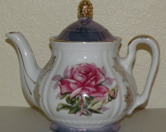 Pink RoseTeapot with Violet Luster Ware Trim