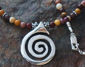 "Spiral Dance 18"" Necklace with Moukaite Jasper Beads - Sacred Symbols Collection - Silver Symbolic Jewelry by K Robins Designs"