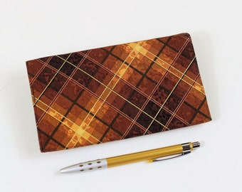 Brown Plaid Checkbook Cover for Duplicates with Pen Holder, Great Gift for Him, Masculine