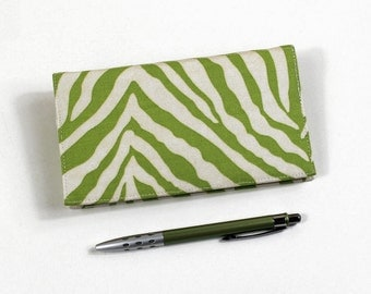 Zebra Print Checkbook Cover for Duplicate Checks with Pen Holder, Lime Green Cotton Duck Fabric