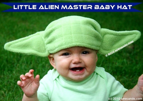 Fleece Yoda Inspired Little Alien Master Baby Hat
