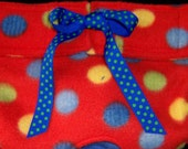 Dog Diapers Britches or Panties Ultra Soft  Bright Multi Dots on Red Fleece with Blue Trim