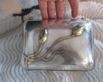 Silver Plated  Purse with Brass Gold Tone 3-D Flowers with Long Chain shoulder Strap