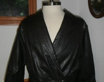 Womens  Leather Berman's 80's  Bat Wig Sleeves Black Leather Jacket -Size LARGE Personal stock!!!!
