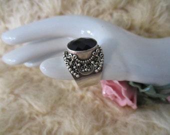 Ring :Ornate Dark Dark Blue~  Multi Cut Stone ~ Ring Size 8.5 ~  BA Indonesia 925 Sterling Silver