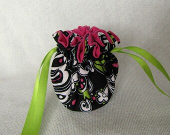 Jewelry Bag - Mini Size - Drawstring Pouch - Travel Jewelry Tote - FLORAL KIWI