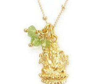 Ganesh Necklace | Peridot Gemstone | Yoga Jewelry | Prosperity, Remover Of Obstacles | Ganesh Charm | Gold  Ganesh Pendant  |  Yoga Gift