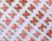 Vantona Pink, Rose and Coral Rosebud Vintage Cotton Chenille Fabric 12 x 24 Inches