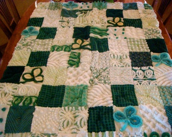 LUCKY LITTLE LAD ~ a Made-to-Order Vintage Cotton Chenille Patchwork  Quilt
