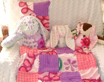 Pink and Lavender Handmade Vintage Cotton Chenille Patchwork Quilted Security Blanket, Lovey, Blankie, Doll Blanket