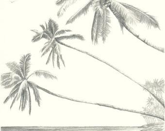 Hawaii Paradise Three Palm Tree Beach Pencil Drawing Print