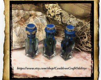 Blue Woad Anointing Oil Talisman Bottle - Organic genuine woad wood and powder - Celtic, Druid, Pict Craft