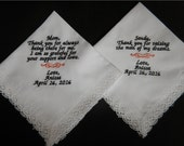 2 Wedding handkerchiefs - FREE SHIPPING - Save the Date - machine embroidered handkerchiefs