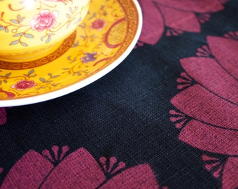 Dahlia Red on Black Linen Tea Towel
