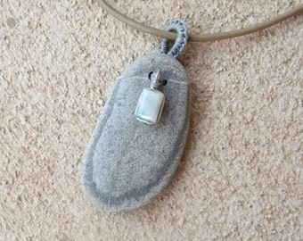 Granite & Opal pendant necklace - natural stone jewelry handmade in Australia - light grey oval