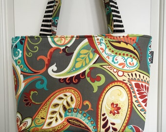 LARGE TOTE - Paisley - Overnight - Weekend - School - Work - Mother's Day - Teacher