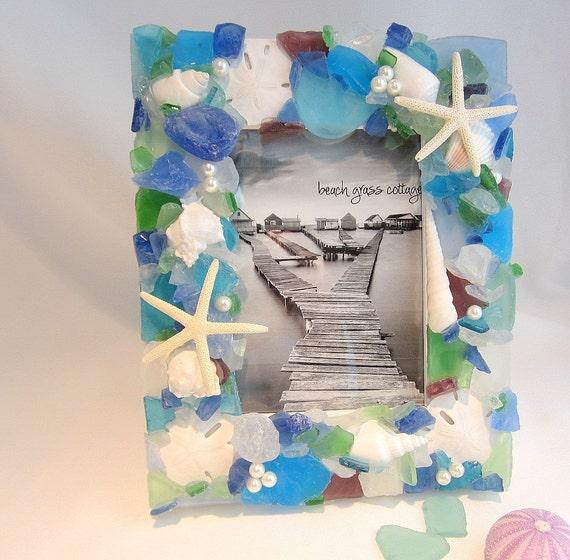 Beach House Decor Sea Glass Frame, Nautical Decor Beach Glass Frame, Seaglass Frame, Beach Frame,  Coastal Home Decor , 5x7 - #SGF57