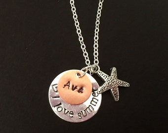 Personalized name I love summer starfish charm Necklace Gift Hand Stamp
