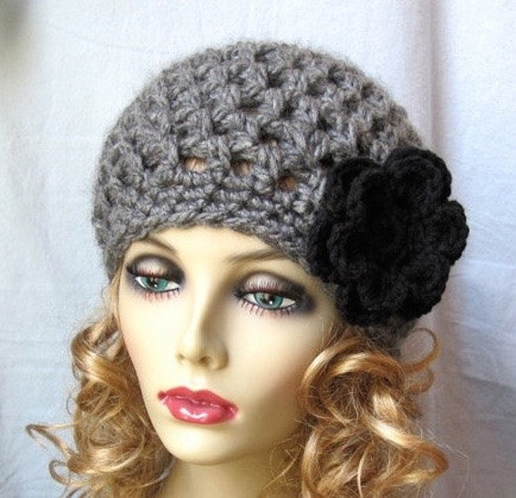 SALE Charcoal Gray Beret, Womens Hat, Flower, Chunky, Head Cover, Teens, City Hat, Birthday Gifts, Gifts for Her, JE407BEF1