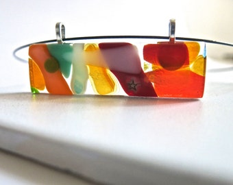 Multicolor Hand Made Fused Glass Modern Choker