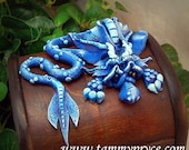 Ooak Polymer Clay Blue Sad Little Dragon on small Old World chest #661