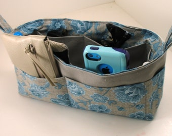 Purse Organizer Insert - Gray and Blue Flowers- New Design Option - Side Loops - Shorter height