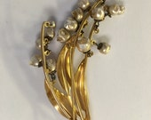 Vintage Lily of the Valley Large Dangling Baroque Pearls Pin