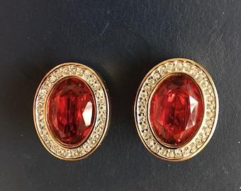 Vintage DS Swarovski Red & Clear Crystal Rhinestone Earrings