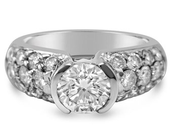 Round Cut Semi Bezel Pave Diamond Engagement Ring Etoile Style R18