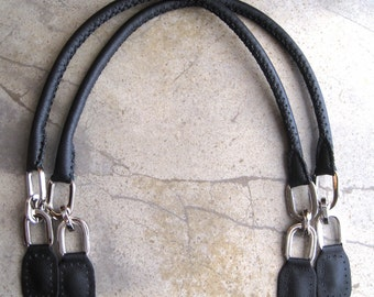 Leather Purse Handles Handmade Black with Chain Link D Rings