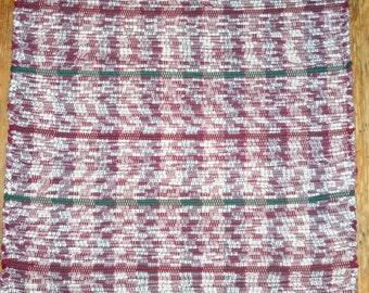 Handwoven Rag Rug - Recycled Fabric - Burgundy, White, Green (Inv. ID #05-0861)