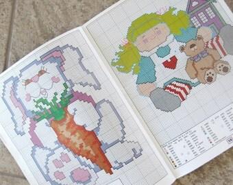 Vintage Kids Craft Book Teach Me To Stitch Cross Stitch Leisure Arts Gillum 1990s