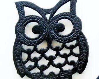 Vintage Owl Trivet Cast Iron Hot Pad Large Coaster Black Mid Century