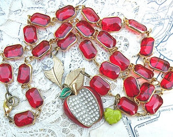apple assemblage necklace eco friendly fruit upcycle pin red