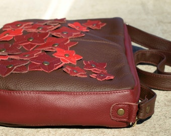Floral Messenger, women crossbody purse, everyday bag, brown leather messenger bag, women red floral leather messenger, spring fashion