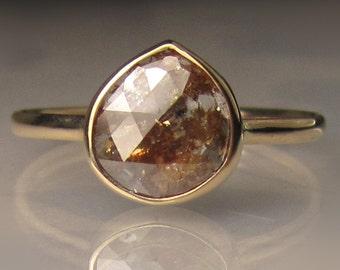Rose Cut Diamond Engagement Ring, 14k Yellow Gold Diamond Ring, Diamond Slice Ring